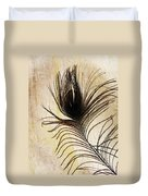 Peacock Feather Silhouette Duvet Cover by Sarah Loft