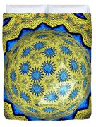 Peacock Feathers Under Polyhedron Glass 3 Duvet Cover by Rose Santuci-Sofranko