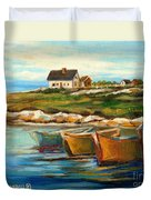 Peggys Cove With Fishing Boats Duvet Cover by Carole Spandau
