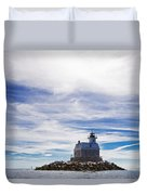 Penfield Reef Lighthouse Fairfield Connecticut Duvet Cover by Stephanie McDowell