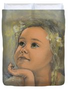 Pensive - Angel 22 Duvet Cover by Dorina  Costras
