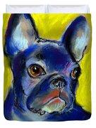 Pensive French Bulldog portrait Duvet Cover by Svetlana Novikova