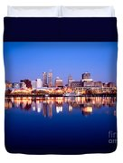 Peoria Illinois Skyline At Night Duvet Cover by Paul Velgos