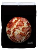 Pepperoni Pizza Baseball Square Duvet Cover by Andee Design