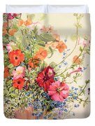 Petunias Lobelias Busy Lizzies And Fuschia In A Terracotta Pot Duvet Cover by Joan Thewsey