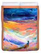 Pheasant Moon Duvet Cover by Jane Small