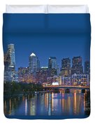 Phila Pa Night Skyline Reflections Center City Schuylkill River Duvet Cover by David Zanzinger