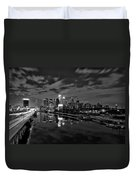 Philadelphia From South Street At Night In Black And White Duvet Cover by Bill Cannon