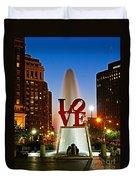 Philadelphia Love Park Duvet Cover by Nick Zelinsky