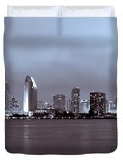 Picture of San Diego Skyline at Night Duvet Cover by Paul Velgos