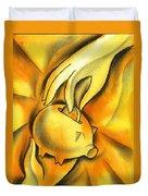 Piggy Bank Duvet Cover by Leon Zernitsky