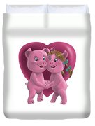 Pigs In Love Duvet Cover by Martin Davey