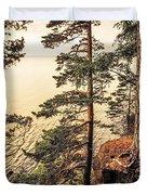 Pine Trees Of Holy Island Duvet Cover by Jenny Rainbow