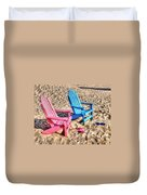 Pink And Blue Beach Chairs With Matching Flip Flops Duvet Cover by Michael Thomas