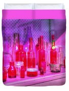 Pink And Red Bottles Duvet Cover by Kaye Menner