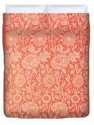 Pink And Rose Wallpaper Design Duvet Cover by William Morris