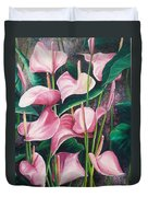 Pink Anthuriums Duvet Cover by Karin  Dawn Kelshall- Best