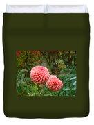 Pink Orange Dahlia Flowers Art Prints Gardens Duvet Cover by Baslee Troutman
