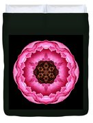 Pink Peony Flower Mandala Duvet Cover by David J Bookbinder