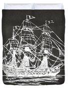 Pirate Ship Artwork - Gray Duvet Cover by Nikki Marie Smith
