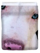 Pit Bull Art - Not A Fighter Duvet Cover by Sharon Cummings