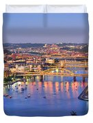 Pittsburgh Pennsylvania Skyline At Dusk Sunset Extra Wide Panorama Duvet Cover by Jon Holiday