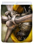 Plane - Pilot - Prop - Twin Wasp Duvet Cover by Mike Savad