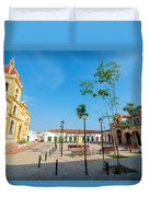 Plaza In Mompox Duvet Cover by Jess Kraft