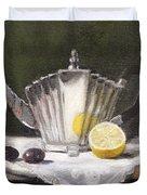 Pleated Teapot with Lemon Duvet Cover by Sarah Parks