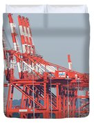 PNCT Facility in Port Newark-Elizabeth Marine Terminal I Duvet Cover by Clarence Holmes