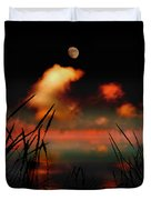 Pointing At The Moon Duvet Cover by Mal Bray