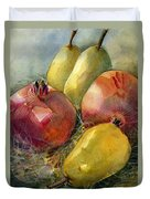 Pomegranates And Pears Duvet Cover by Jen Norton