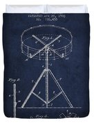 Portable Drum Patent Drawing From 1903 - Blue Duvet Cover by Aged Pixel