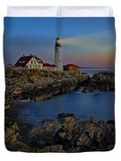 Portland Head Light Sunrise Duvet Cover by Susan Candelario