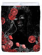Portrait in Black - s0201b Duvet Cover by Variance Collections