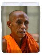 Portrait Of A Buddhist Monk Yangon Myanmar Duvet Cover by Ralph A  Ledergerber-Photography