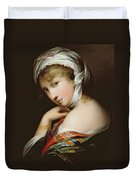 Portrait Of A Lady In Eastern Dress Duvet Cover by English School