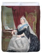 Portrait Of Queen Victoria Duvet Cover by English School