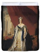 Portrait Of Queen Victoria In Coronation Robes Duvet Cover by Franz Xaver Winterhalter