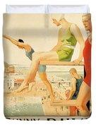 Poster Advertising Sunny Rhyl  Duvet Cover by Septimus Edwin Scott