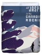 Poster advertising the Canadian Ski Resort Jasper Duvet Cover by Canadian School