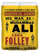 Poster Advertising The Fight Between Muhammad Ali And Zora Folley In Madison Square Garden Duvet Cover by American School
