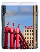 Potsdamer Platz Pink Pipes In Berlin Duvet Cover by Ben and Raisa Gertsberg