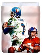 Power Force John Elway Duvet Cover by Iconic Images Art Gallery David Pucciarelli