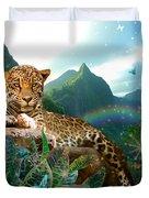 Pretty Jaguar Duvet Cover by Alixandra Mullins
