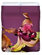 Pretty Orchid On Pink Duvet Cover by Kaye Menner