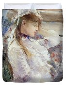 Profile of a seated young woman Duvet Cover by Berthe Morisot