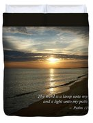 Psalm 119-105 Your Word Is A Lamp Duvet Cover by Susan Savad