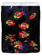 Psychedelic Flying Fish With Psychedelic Reflections Duvet Cover by Kaye Menner