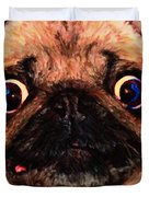 Pug Dog - Painterly Duvet Cover by Wingsdomain Art and Photography